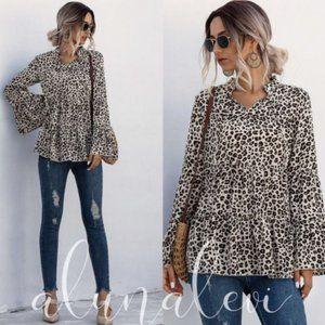 Leopard Print Bell Sleeve Top